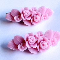 Pink Flower Bouquet Hair Clip Pin Barrette Set