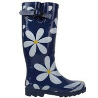 Womens Classic Rain Boot With Buckle 4 Colors (6, Daisy Print 1404): Shoes