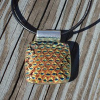Fused Glass Pendant - Gold Snakeskin