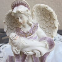 Sarah&#x27;s Angels Mother&#x27;s Day figurine,  Collectible Angel holding baby, gift for new mom