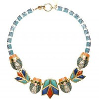 Blue Flame Lotus &amp; Scarab Necklace - LELE SADOUGHI Blue Flame Lotus &amp; Scarab Necklace