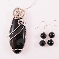 Semi Precious Black Onyx Agate Pendant, Wire Wrapped Handmade Jewelry, Earrings Sterling Wire