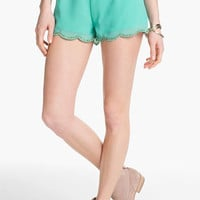 Blu Pepper Scalloped Bead Trim Shorts (Juniors) (Online Exclusive) | Nordstrom