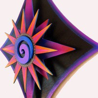 3D Psychedelic Modern Art Purple Spiral Starburst Wall Sculpture 23x28 | primalpainter - Sculpture on ArtFire