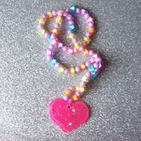 Rainbow Stars and Starry Heart Charm Stretch Necklace