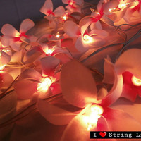 35 of Pink Frangipani Flower String Lights For Wedding and House decoration (35 Flowers/Set)