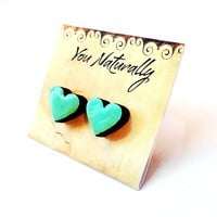 Mint Heart Earrings