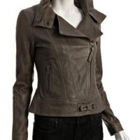 Mackage grey leather zip front 'Kenya' motorcycle jacket at Bluefly