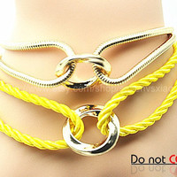Cuff Leather Fashion Style Buckle Bracelet Yellow Leather Personalized Bracelet 2239S