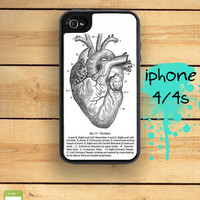 Capsule iPhone 4S / 4 Silicon and Hard Plastic 3 Part Phone Case / anatomical heart medical chart vintage IPhone 4 and IPhone 4S