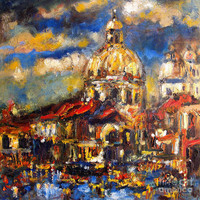 Venice Italy Sparkling At Sunset Painting by Ginette Callaway - Venice Italy Sparkling At Sunset Fine Art Prints and Posters for Sale