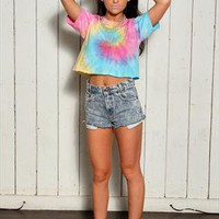 90's Style Rainbow Crop Tie Dye T-shirt - Choose Your Size from Onceuponatime
