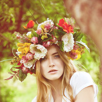Oversized Floral Crown Fabric Flowers Colourful Statement Hair Piece Red Yellow Pinks Headpiece Wreath Wedding Whimsical Garden Summer Party