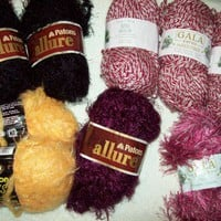 Destash Yarn Lot Mixed Patons Allure Gala twist Eyelash Caron 8 Skns