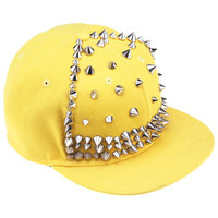 ROMWE | Riveted Yellow Snapback Hat, The Latest Street Fashion