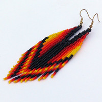 Dangle Long Earrings. Native American Earrings Inspired. Red Yellow Black Orange Earrings. Wings.Beadwork.