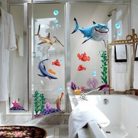 Finding Nemo Wall Stickers Sharks and Fish`s Live Sea Removable Children/kids Home - Decors Mural Art Nursery Decal NEW (Decowall-stickers): Home & Kitchen