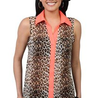 cheetah print tank with coral collar - 1000046569 - debshops.com