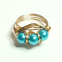 Blue Pearl and Gold Wire Wrapped Ring