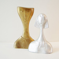 Man Woman small sculpture portrait,  solid brass and aluminum matte finish