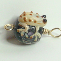 Frog Black Purple Tan Black Lampwork Merlin&#x27;s Gold Wire Wrapped Pendant