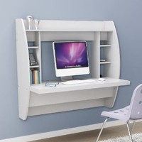 Prepac Floating Desk with Storage in White: Office Products