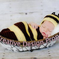 Cocoon and Hat - Bumble Bee costume set - newborn outfit - photo prop or gift for baby shower