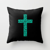 Mint Leopard Cross Throw Pillow by M Studio
