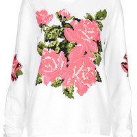 Embroidered Floral Sweat - Topshop USA