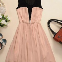 Sheer Mesh Pleated Chiffon Dress