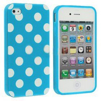 Blue Polka Dot Cover For Iphone 4 &4S - 29 N Under