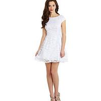 B. Darlin Cap-Sleeve Metallic Lace Dress | Dillards.com
