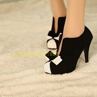 HOT WOMEN SEXY HIGH HEEL BLACK+WHITE TIE FASHION ANKLE SHOES