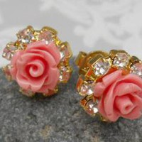 Coral Rose Ear Studs