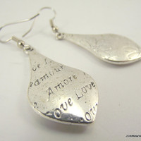Secret Love Note Silver Teardrop Earrings, Silver Earrings, Flower Earrings, Mother's Day
