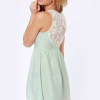 O'Neill Statement Lace and Mint Print Dress