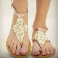 Pearly Pink Perdy Foil Sandals