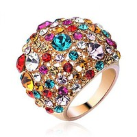Fashion Starry Night Colorized Stones Ring