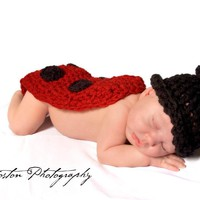 Ladybug Hat, Lady Bug Cape, Newborn, Baby, Red, Crochet - lolobu