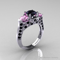 Modern 14K White Gold Three Stone Black Diamond Light Pink Sapphire Solitaire Engagement Ring, Wedding Ring R250-14KWGLPSBD