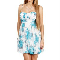 Ivory/Turquoise Floral Sundress