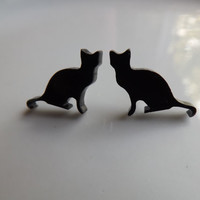 Black Cat Post Earrings Acrylic Post Earrings Cat Earrings Cat Studs Gifts for Moms Gifts for Teens Under 20 Mother's Day Gift