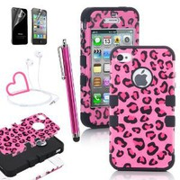 Amazon.com: Pandamimi ULAK Stylwire(TM) Pink Heart Stereo Headphones + iPhone 4 4S Hard Hybrid Case Cover Rubberize Pink / Black Leopard Silicone TUFF + Screen Protector + Stylus: Cell Phones & Accessories