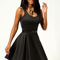 Tracey Pleat Detail Belted Skater Dress