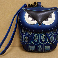 Blue Leather Owl Coin Purse Wristlet - HOOT :)