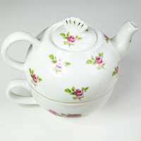 Lane End Pottery tea for one teapot and cup set - Red and pink roses bone china tea-for-one set - Made in England