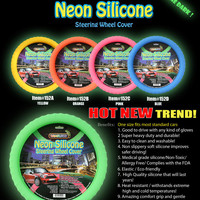 "Silicone Car Steering Wheel Cover GLOW IN THE DARK NEON GREEN""Cameleon Cover"" 
