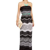 Blk/Wht/Gray Tribal Maxi Dress