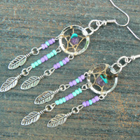 turquoise and amethyst dreamcatcher earrings in native american tribal boho belly dancer and hipster style