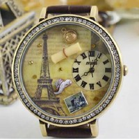 accessoryinlove  MINI Vintage Waterproof Rhinestone Eiffel Tower Watch